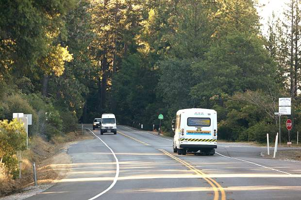 A Gold Country Stage bus travels along the route of the revived bus line between the San Juan Ridge and Grass Valley Friday morning.