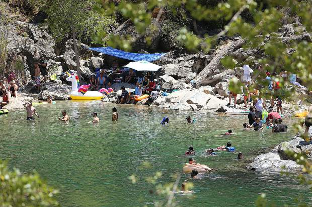 Kneebone Beach at the South Yuba River State Park Bridgeport is a popular summer swimming hole now that river levels have subsided and become safer to enter.