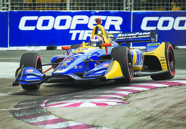 Alexander Rossi, of the United States, drives during qualifying at the Honda Indy auto race in Toronto, Saturday, July 13, 2019. (Andrew Lahodynskyj/The Canadian Press via AP)