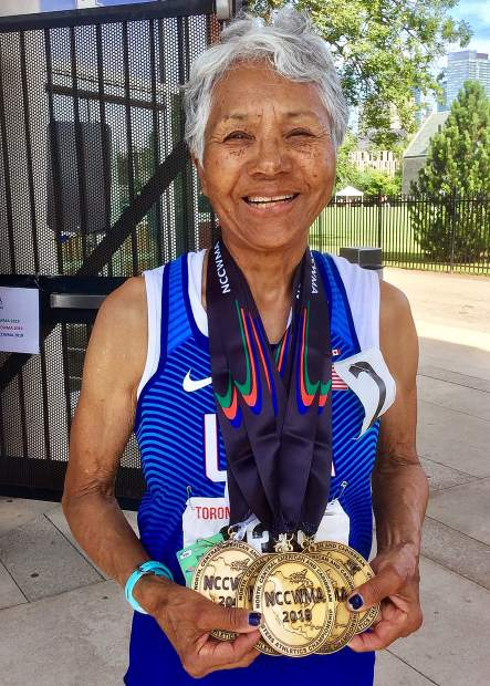 Sierra Gold athlete Irene Obera earned seven gold medals at the North, Central America and Caribbean Region of World Masters Championships in Toronto.