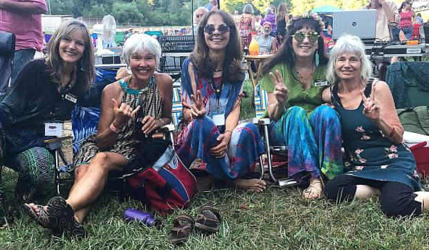 KVMR volunteers Diane McIntire, Katie Carter, Connie Coale, Jenny Michael and Patricia O'Conner were grooving at one of the station's Pioneer Park shows.