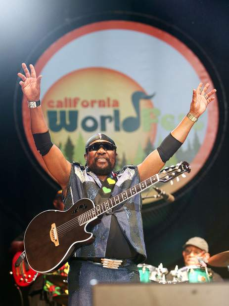 """The 76 year old """"Toots"""" Hibbert of Toots and the Maytals addresses the bands fans after performing a song at California WorldFest Saturday evening at the Nevada County Fairgrounds in Grass Valley."""