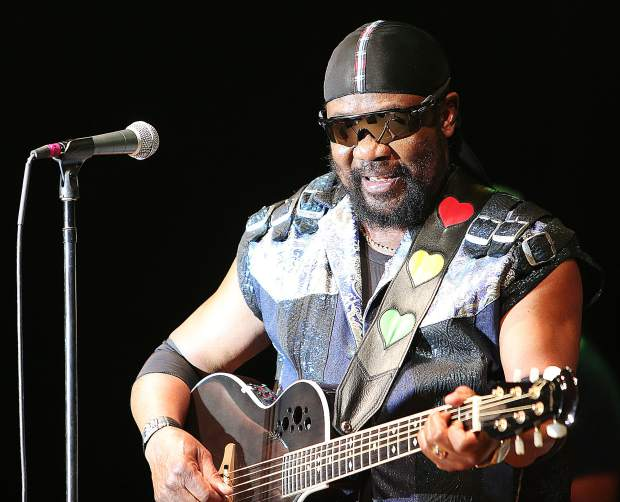 """""""Toots"""" Hibbert focuses on playing the guitar during his performance with the Maytals Saturday night in Grass Valley."""