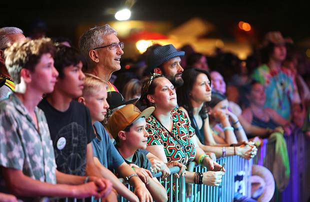Toots and the Maytals fans in the front row at WorldFest watch as the reggae legend takes the stage Saturday evening at the Nevada County Fairgrounds.