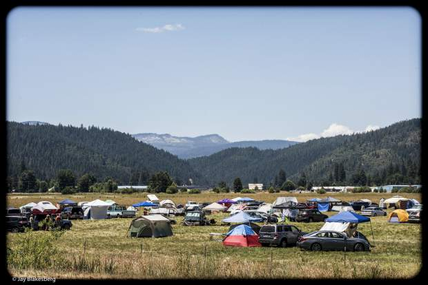 Campsites outside of the Plumas County Fairgrounds offer a scenic view of Quincy, Calif.