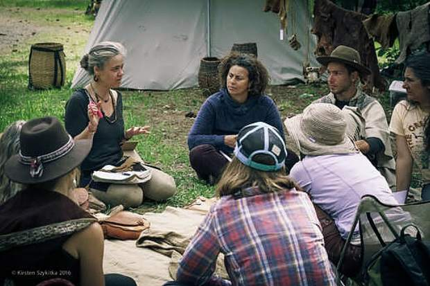 Woniya Thibeault teaches a class on buckskin sewing at an ancestral skills gathering on Lake Concow near Oroville in the spring of 2016. Now that the show