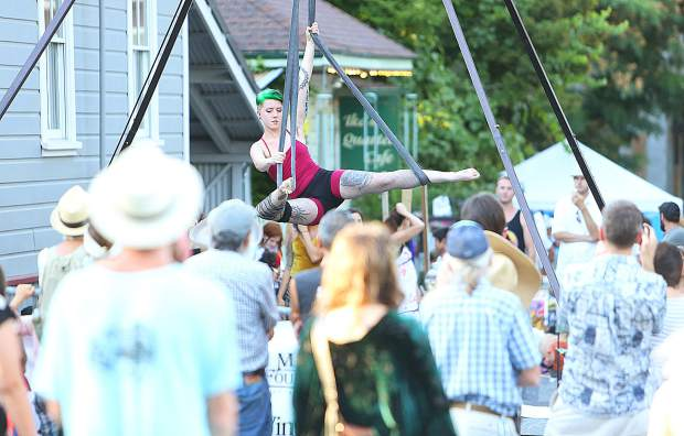 Aerialists from the Aerial Lab captured a large crowd on York Street across from City Hall during the Art Walk.