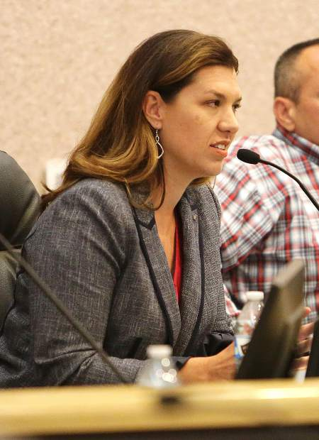 Megan Dahle provides a response to a question during a League of Women Voters forum earlier this month.