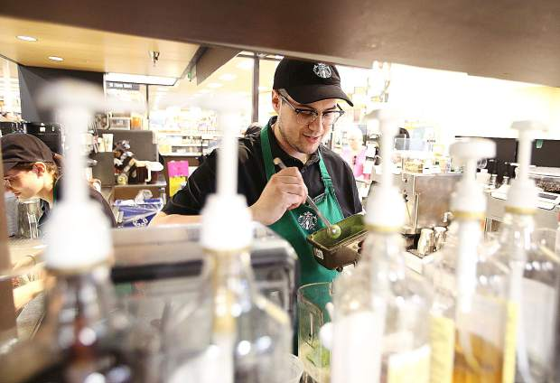 Covington really enjoys making drinks at the Starbucks in Safeway along Sutton Way. His co-workers appreciate his warm and welcoming energy.