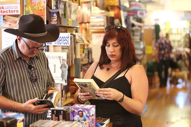 Nicolas and Eleanora Albin make sure to stop by Booktown Books in downtown Grass Valley when they visit from France and say that this is the best bookstore in the world.