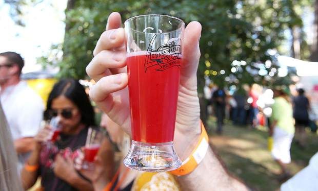 The bright pink color of Grass Valley Brewing's Fair Daze Haze had many a curious beer connoisseur sipping the Gold Country Hazy Project beer meant to bring back memories of sipping pink lemonade at the fair.