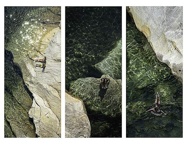 Basically, a triptych is three photos that are related in some way and grouped as one image. Rachel's own entry is Hoyt's Crossing from the South Yuba River 49 bridge.