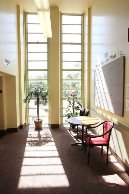 Light shines through the windows of the 1930s Nevada County art deco courthouse built on the site of the former historic structure that was demolished.
