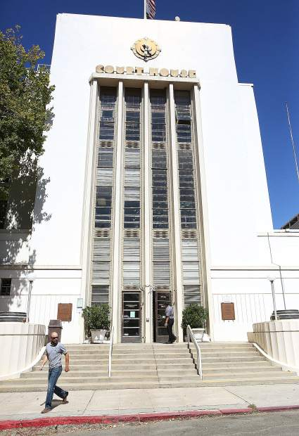 People get their courthouse business handled Thursday afternoon in downtown Nevada City. The courthouse, built in 1936-1937, has been placed on a critical need list.