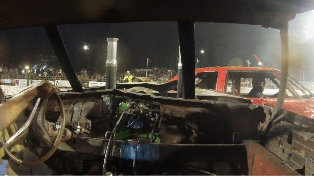 Derby driver Jose Ybarra drives his 1973 Buick Riviera into the side of the #70 derby car driven by Mike Doyle in the 2019 Nevada County Fair destruction derby. Doyle took home 2nd place while Ybarra placed 6th.