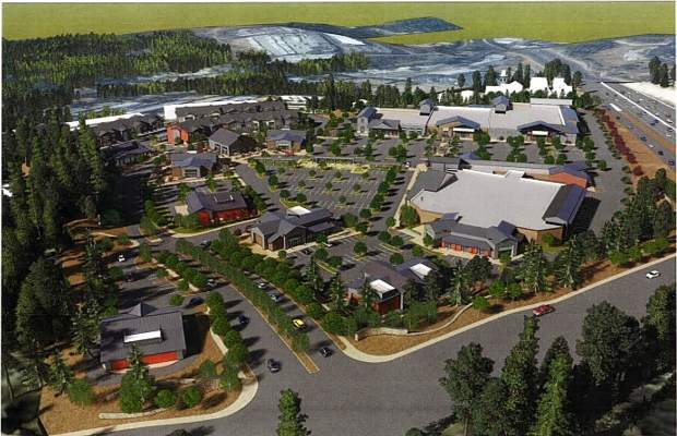 An aerial 3-D rendering of the proposed Dorsey Marketplace.