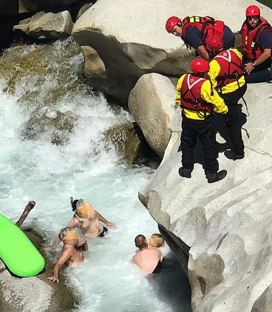 A boy slipped from a boulder and needed to be rescued after his leg became trapped under a rock in the South Yuba River Monday.