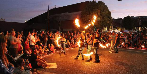 The fiery display of the Sol Risers fire dancing group closed out the final Thursday Night Market of the summer season in downtown Grass Valley Aug. 1 capturing the attention of hundreds who gathered around as the sun went down.