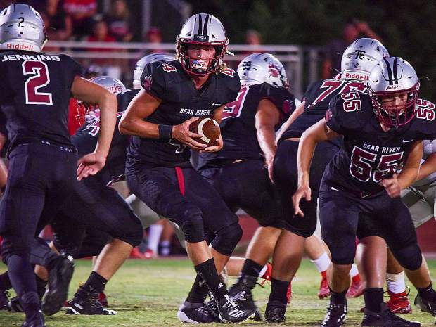 Bear River's Tre Maronic (4) came through with three touchdowns in the Bruins season opening win over Truckee. Maronic and the Bruins hit the road today, traveling to Placerville to face the El Dorado Cougars.