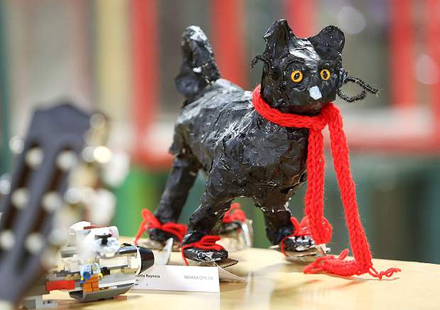 A paper mache cat on ice skates is just one of the many hundreds of creative items that will be on display at the 2019 Nevada County Fair.
