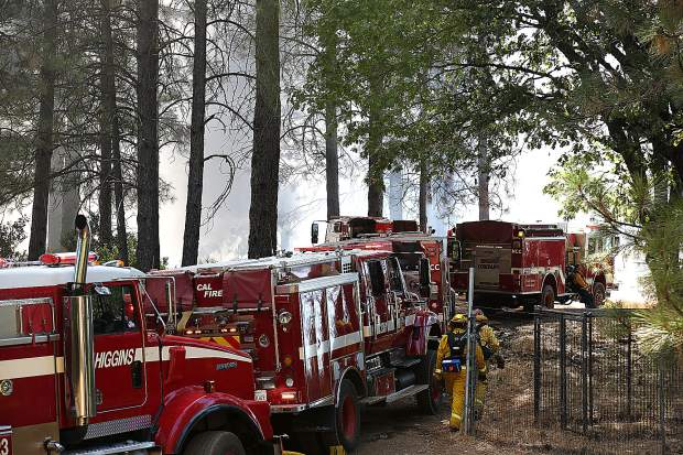 Multiple fire engines from Higgins, Cal Fire, Placer Fire crews and others showed up to help extinguish Thursday afternoon's 5 acre vegetation fire.