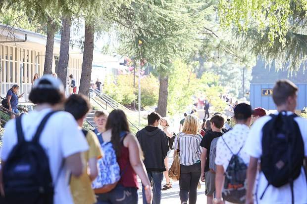 The halls of Nevada Union High School were bustling with students as they arrive at the first day of school Wednesday morning.