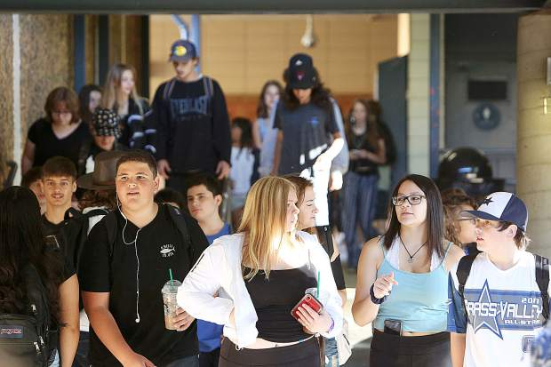 The halls of Nevada Union High School were bustling with students as they arrived at the first day of school Wednesday morning.