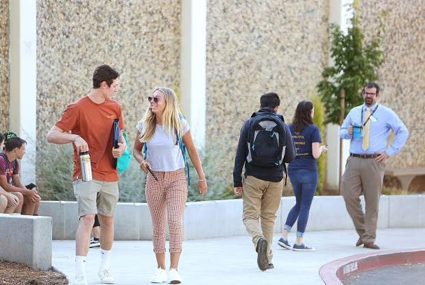 Nevada Union High School students arrive back at class Wednesday for the 2019-2020 school year, using the school's new student drop off location.