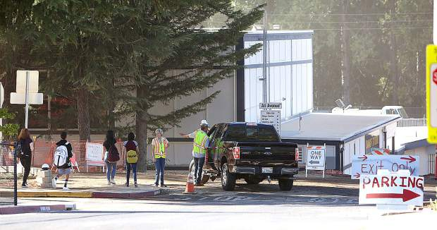 Measure B construction at Nevada Union High School only partially caused some issues with parents and pupils on the first day back to school Wednesday morning.