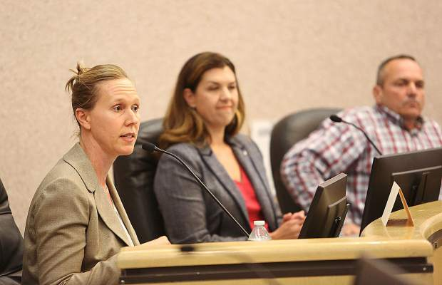State Assembly special election candidate Megan Dahle listens to a response from the only Democrat, Elizabeth Betancourt, during Thursday night's League of Women Voters Forum. Dahle, along with the other four, are Republican candidates.