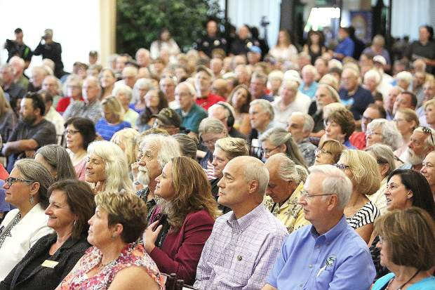 The Foothills Event Center was at maximum capacity during Thursday's fire insurance town hall meeting with State Insurance Commissioner Ricardo Lara. Folks peered through the windows or watched online or at the Rood Government Center.
