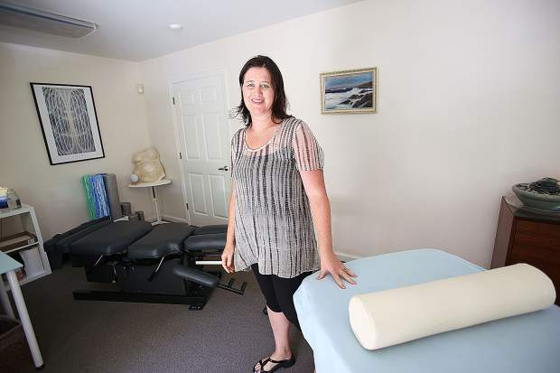 Dr. Heather Hunt shows off one of her private working spaces where she works with clients at the family run Jacobson Chiropractic Inc.