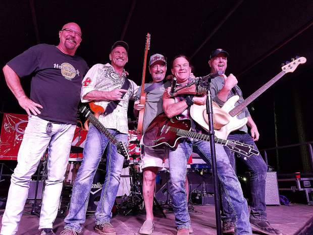Jim Tucker, center, a local musician who was a guitarist/singer with the rock band The Turtles in the late 1960s, has been invited to perform on-stage at the Nevada County Fair by the Phoenix-based band Mogollon for the past dozen years.