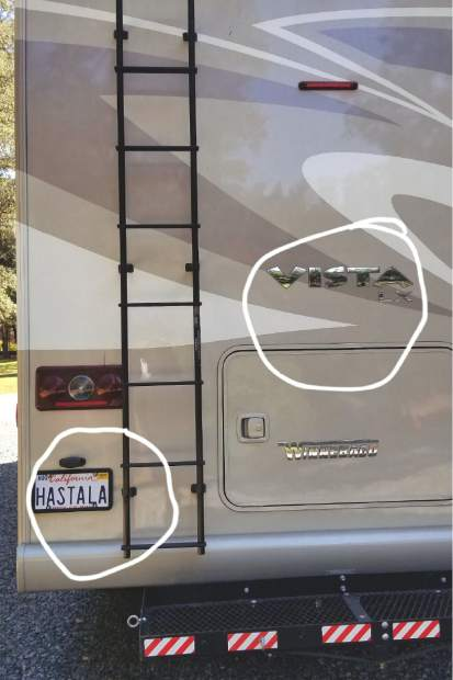 "Mike Sivila combined the model of his motorhome, Vista, with the vanity plate ""HASTALA"" to come up with ""HASTALA VISTA."""