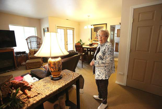 Barbara Eustice shows off the spacious living quarters that she and her husband now live in at the Cascades Assisted Care complex off of Sierra College Drive. Colleen's business, Sunnyside Senior Transition Services, assisted the Eustice's with the move.