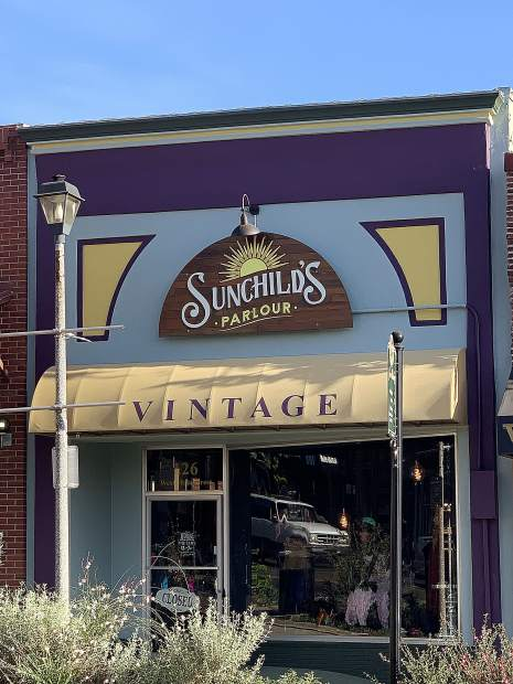 Sunchild's Parlour, a vintage clothing store is located at the intersection of Mill and Main streets in Grass Valley.