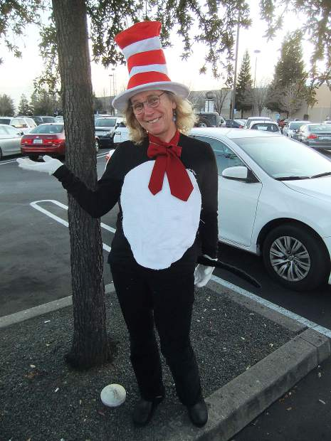 Mahaffy dressed as The Cat in the Hat in honor of Dr. Seuss' birthday.