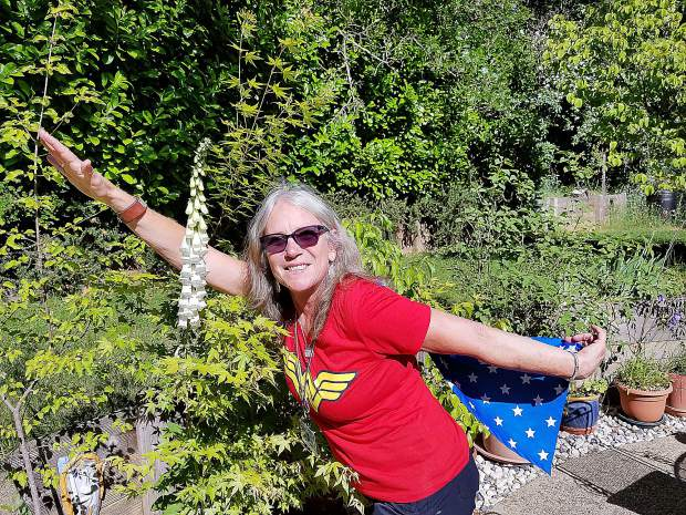 Susan Mahaffy sporting a Wonder Woman outfit on her last day of teaching at Deer Creek. Mahaffy worked in the Nevada City School District for 34 years.
