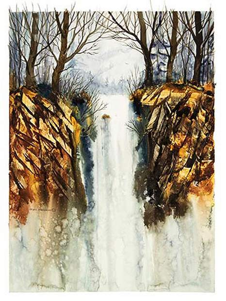 A watercolor painting of a forest and waterfall. Meakin's work can be found locally and in mayors offices in the UK.
