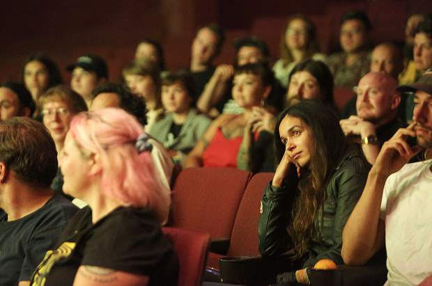 Nevada City Film Festival goers listen intently to a question and answer session from film producer Amanda Presmyk following the screening of the comedy/horror movie Satanic Panic.