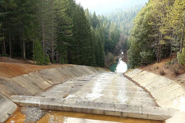 The Scotts Flat Dam spillway.