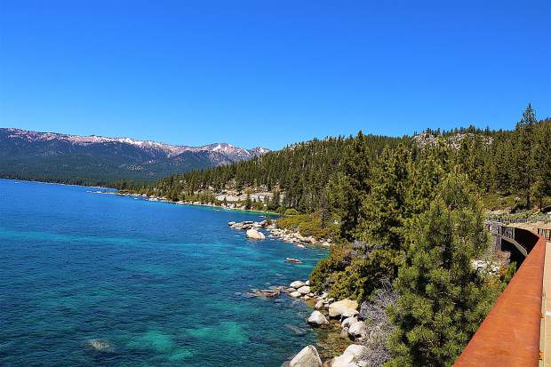 The Tahoe East Shore Trail is gorgeous. The views of Lake Tahoe and the multiple access points to the water is a pleasure. More importantly, it's safer than walking or cycling along the roadway.