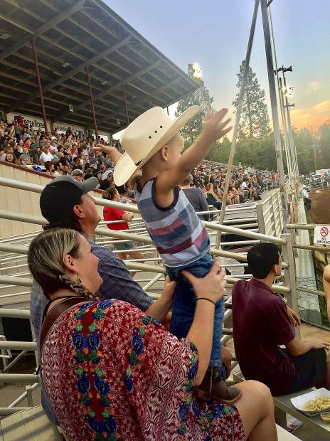 Somebody was enjoying the action at the rodeo!