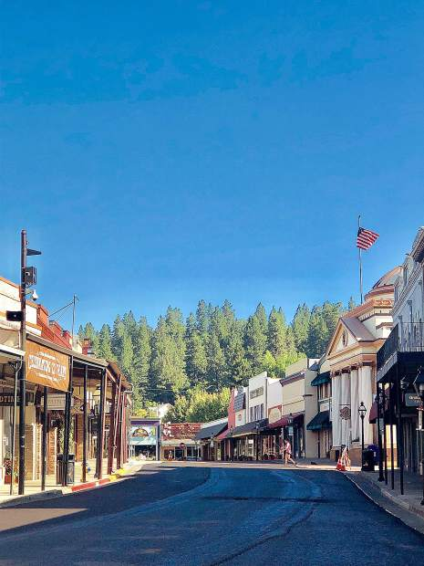 Mill Street in Downtown Grass Valley was closed for paving and oiling Thursday.