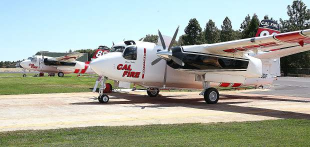 Air tankers 88 and 89 sit ready to drop fire retardant from the Nevada County Airport where the Grass Valley Interagency Air Attack base is located.