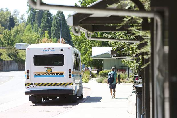 A transit station user awaits his bus Tuesday in downtown Grass Valley. A surveillance system installed last year will now have a live feed sent to the police department to help aid in law enforcement.