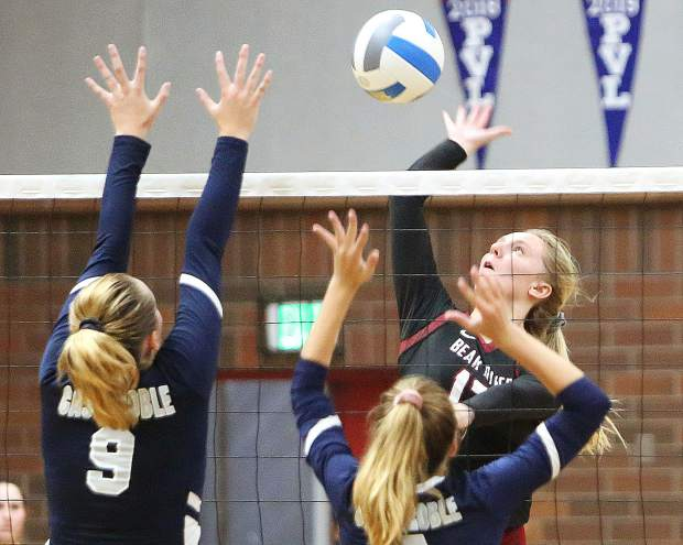 Bear River varsity volleyball's Summer Huntley (13) tallied six kills in the Lady Bruins vistory over Casa Roble Thursday.