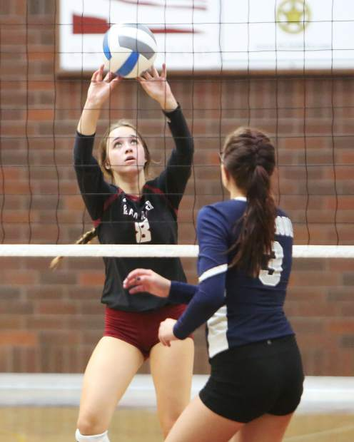 Bear River's Ashley Ray sets the ball for her team mates during Thursday's home match against Casa Roble.