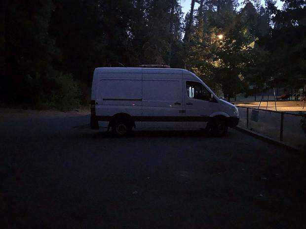 Sean Ross' van appears nondescript from the outside. Inside, the vehicle holds most everything he needs.