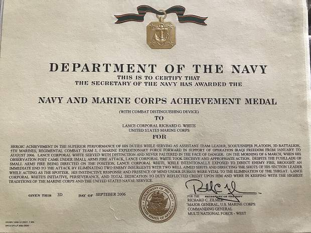 Lance Cpl. Gabriel White was awarded the Navy and Marine Corps Achievement Medal for intentionally exposing himself to direct enemy fire to immediately eliminate with two shots two insurgents who were attacking his squad.